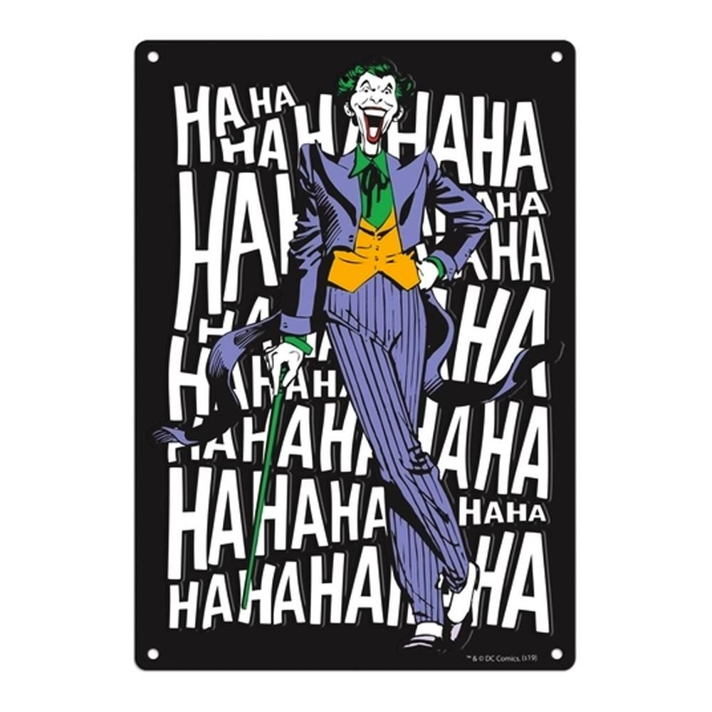 PLACA DECORATIVA JOKER LAUGH - DC COMICS - PITICAS